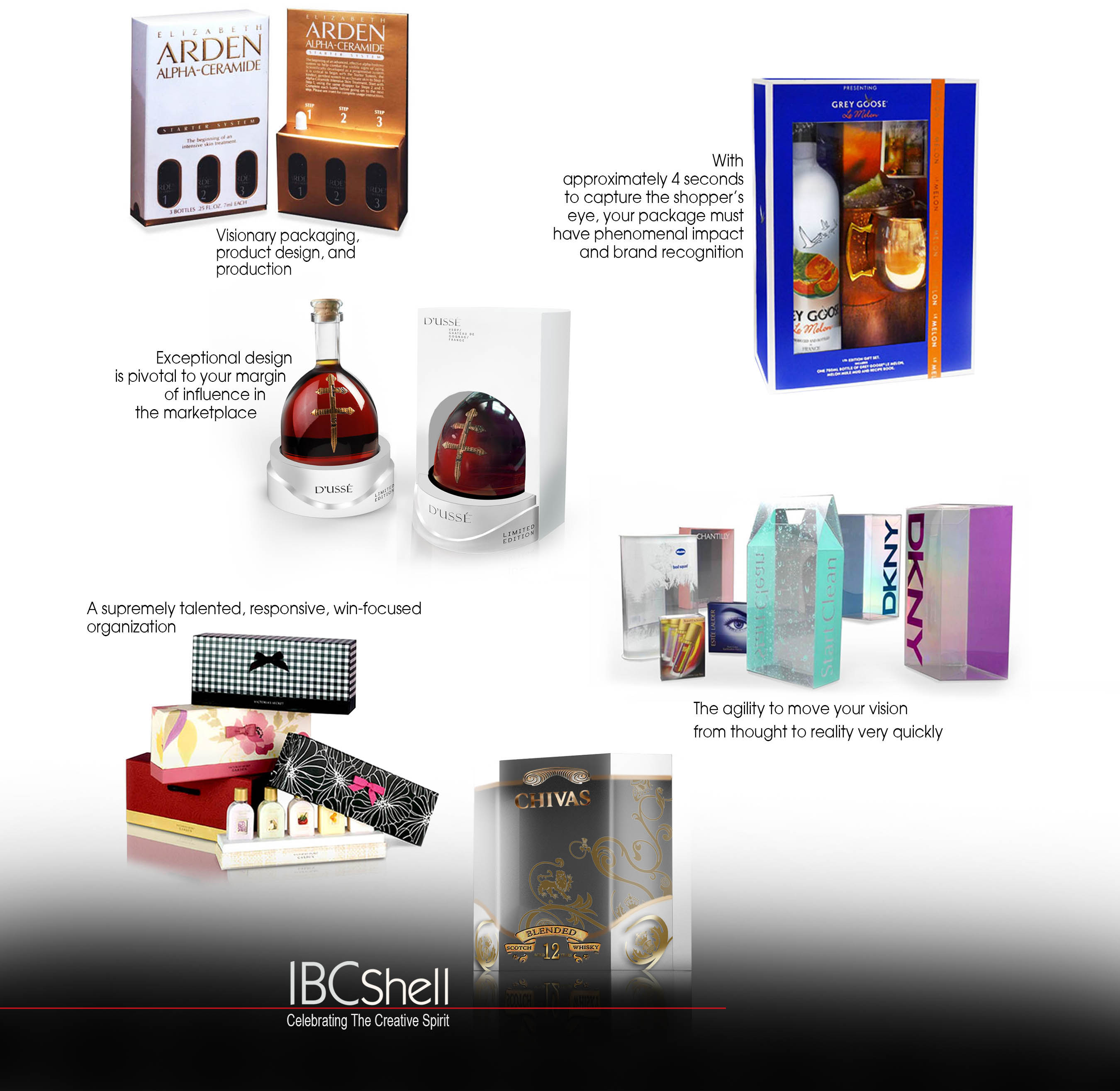 Incredible packaging, Elizabeth Arden Package, D'USSE package, Chivas Regal package, cosmetic packaging, fragrance packaging, Grey Goose Vodka package, bath n body package, IBC Shell Packaging, package design